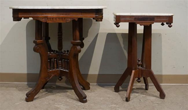 Two Victorian Walnut Marble Top Side Tables, Height of Taller: 29 in