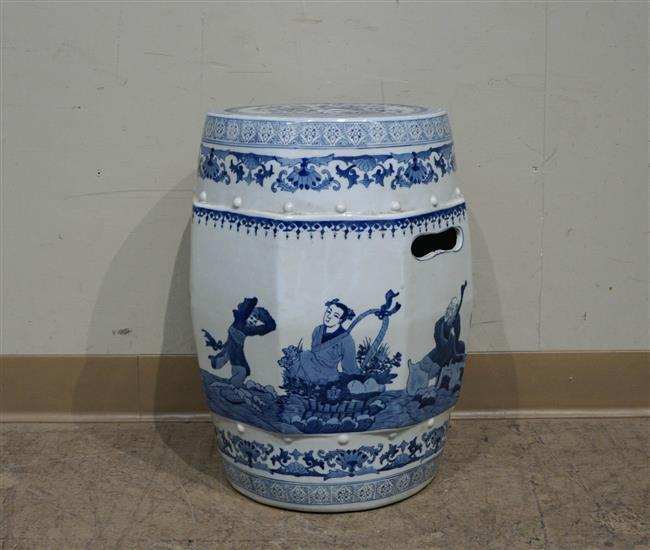 Chinese Blue and White Porcelain Garden Seat; 18.75 x 14 Inches