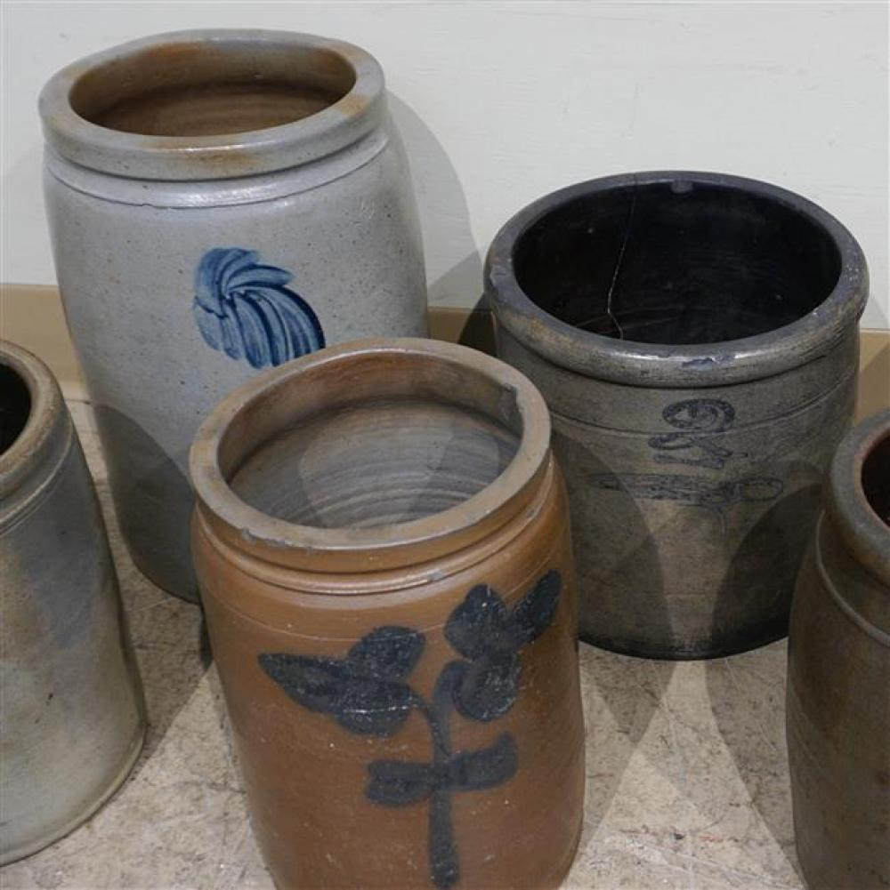 Six American Glazed Stoneware Crocks and a Jug; Height of Tallest at 13 Inches