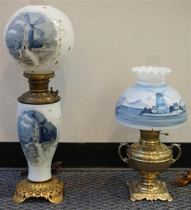 Two Victorian Decorated Glass Table Lamps