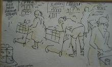 Aaron Sopher (American 1905-1972), Grocery Shopping, Ink on Paper, Framed, 9-3/4 x 12 inches