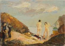 Glen Allison Ranney (American 1896-1959), Two Nudes in a Landscape, Oil on Panel, Unframed: 17-3/4 x 25 in