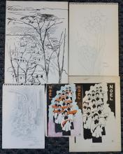 Celine Tabary (American B 1908), Five Assorted Works on Paper