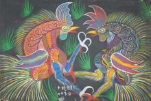 Francisco da Silva (BRAZILIAN, 1910-1985), Roosters, Oil on Canvas, Framed: 27-1/2 x 35-1/2 in
