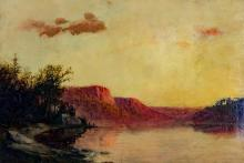 Attributed to George Harvey (American 1835-1920), Bluffs on the Mississippi River near Burlington, Unsigned oil on artist board