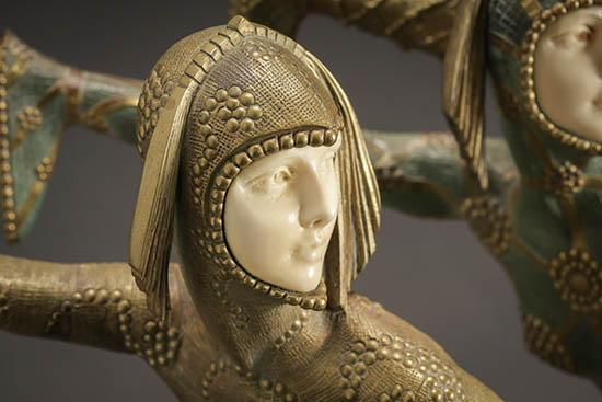 Demétre Chiparus (Romanian 1886-1947), Les Girls, chryselephantine cold painted bronze sculptures