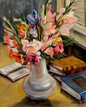 Céline Marie Tabary (American 1908-1993), Gladioli in Vase with Books, Signed oil on canvas