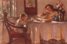 Nicolas Haritonoff (Russian 1880-1944), Breakfast Time, Oil on panel