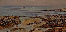 John Brett (British 1830-1902), Lee Cove Sands, Devon, Signed Oil on Canvas, 7 x 14 inches