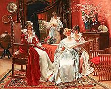 Thomas W. Shields (American 1849-1920), Ladies in the Parlor, Unsigned Oil on Canvas, 26 x 35 inches