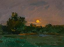 Ovanes Berberian (Armenian b. 1951), Sunset Landscape, Signed Oil on Board, 14 x 17-1/2 inches