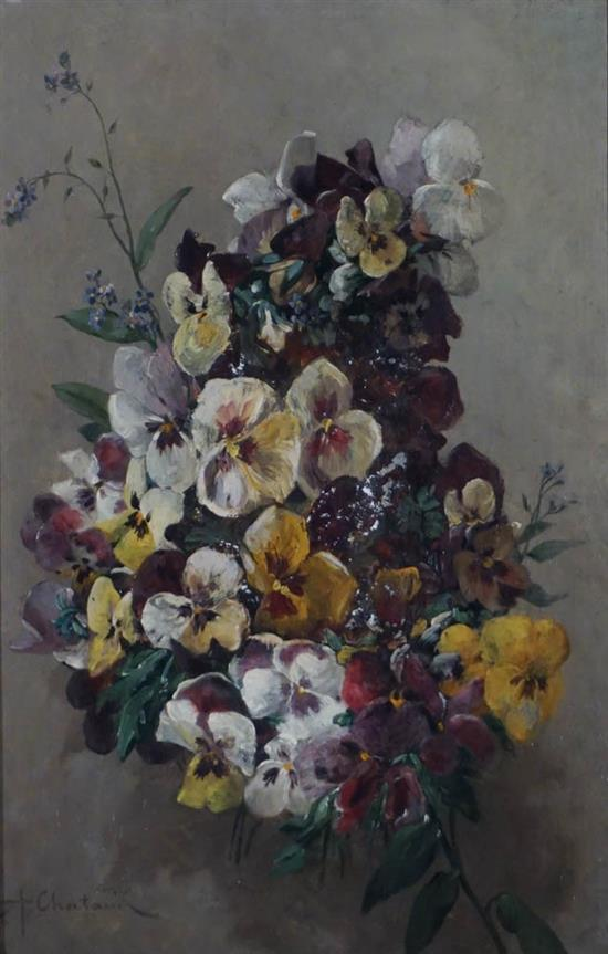 Marc Alfred Chataud (French 1833-1908), Still Life of Pansies, Oil on Panel, 14 x 19-1/4 in