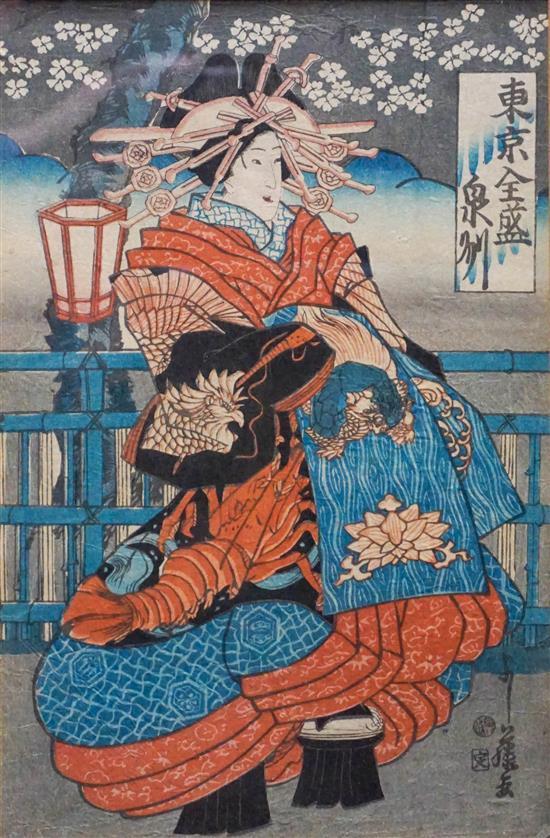 Two Japanese Ukiyo-e Oban Woodblock Prints of Actors