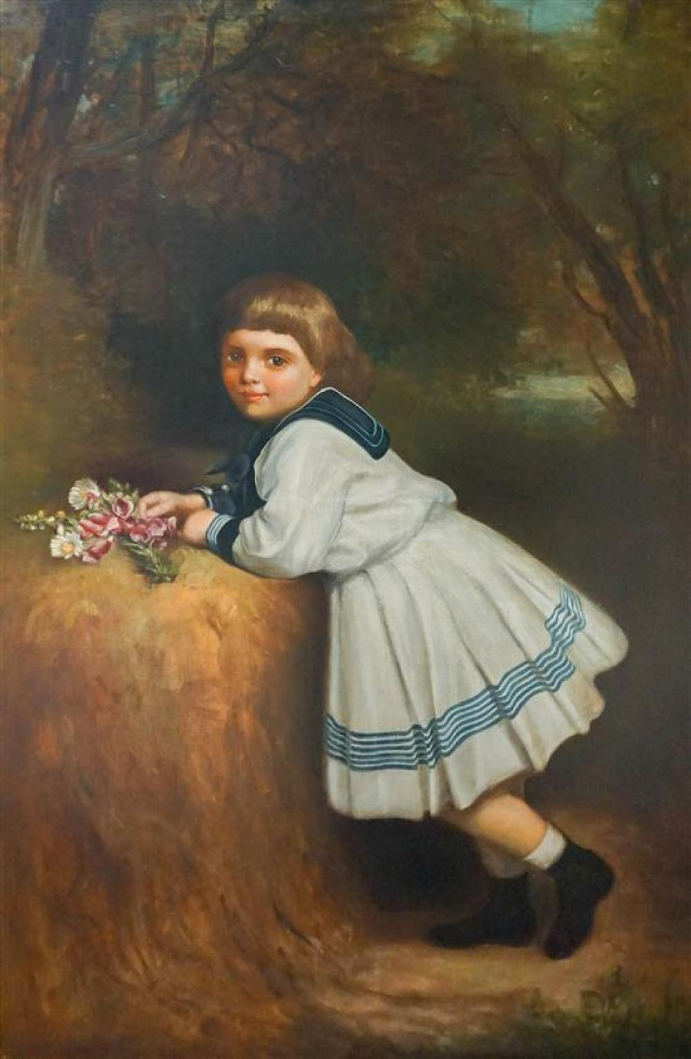 American School, Circa 1900, Young Girl with Bouquet of Flowers in a Forest, Oil on Canvas, 53 x 35-1/2 in