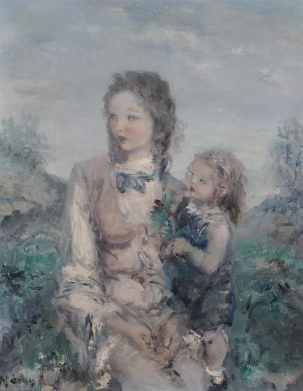 Aurél Náray (Hungarian 1883-1948), Mother and Child in a Landscape, Oil on Canvas, 27 x 21- 2/4 in