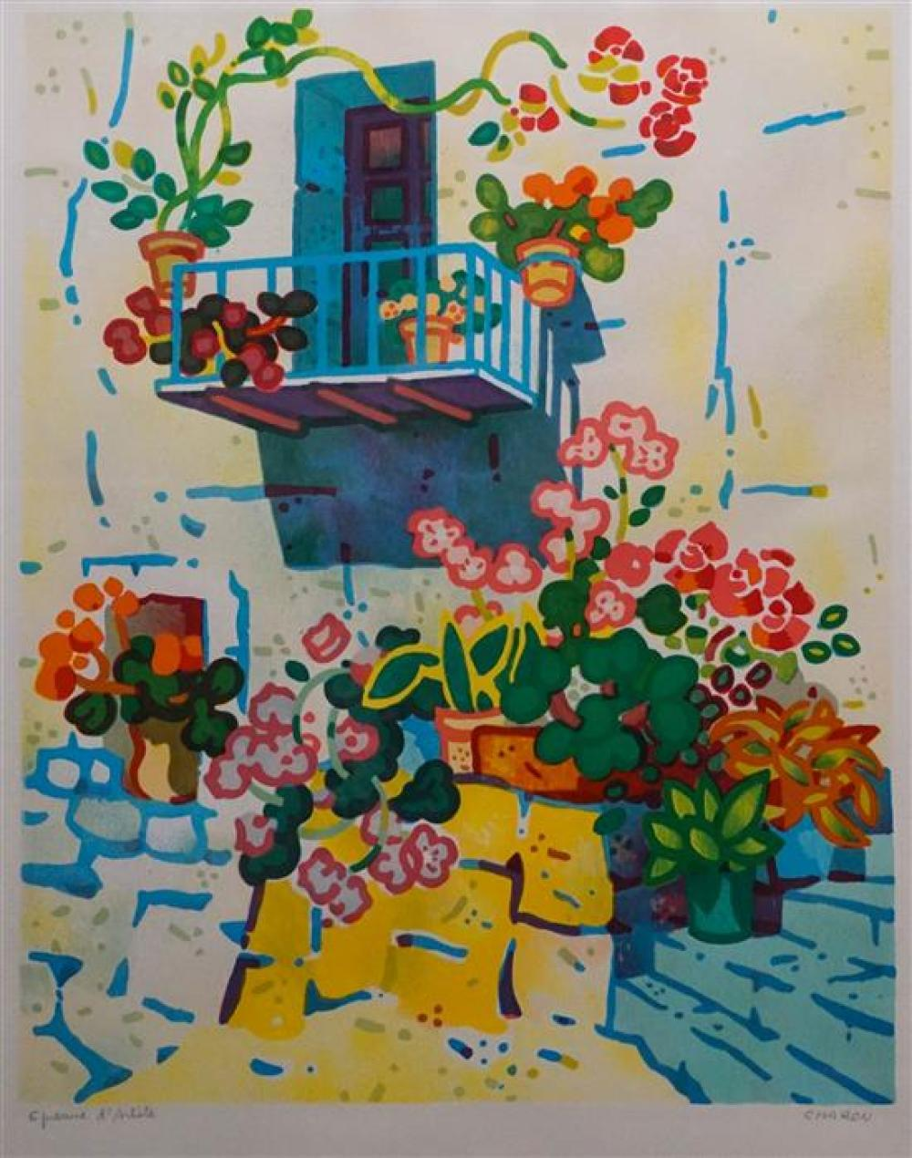 Guy Charon (French b. 1927), Flower Garden, Lithograph in Color, Signed and Inscribed Epreuve d'Artiste, Sight size: 26-1/2 x 20 in
