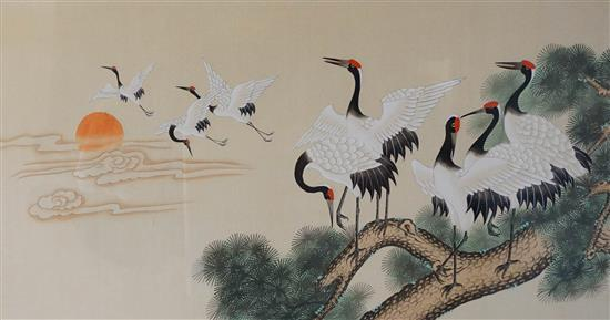 Chinese School, 20th Century, Cranes in Flight, Pair of Watercolors on Paper, Sight size: 23 x 43 in