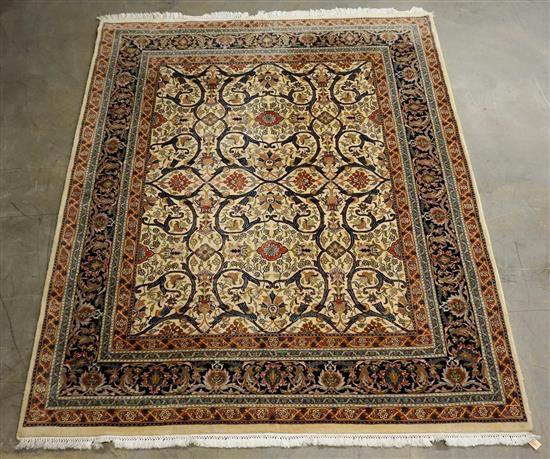 Indo-Tabriz Room Size Rug, 10 ft 8 in x 7 ft 9 in