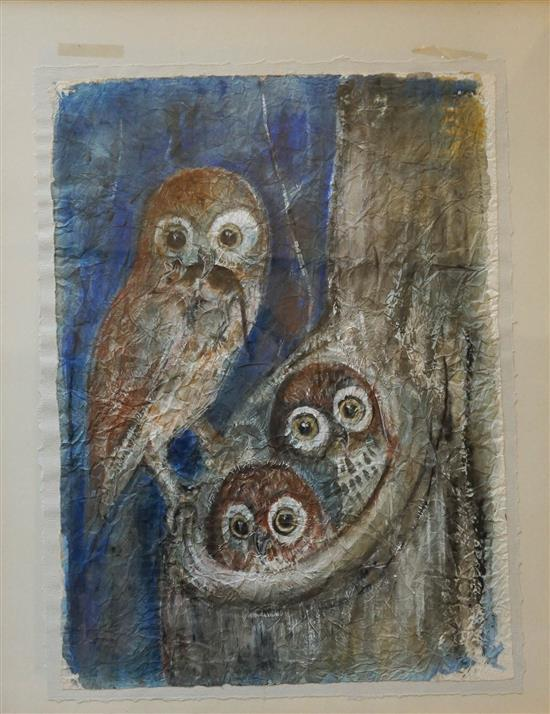 20th Century School, Owl with Two Owlets, Watercolor, Sheet size: 26 x 19 in