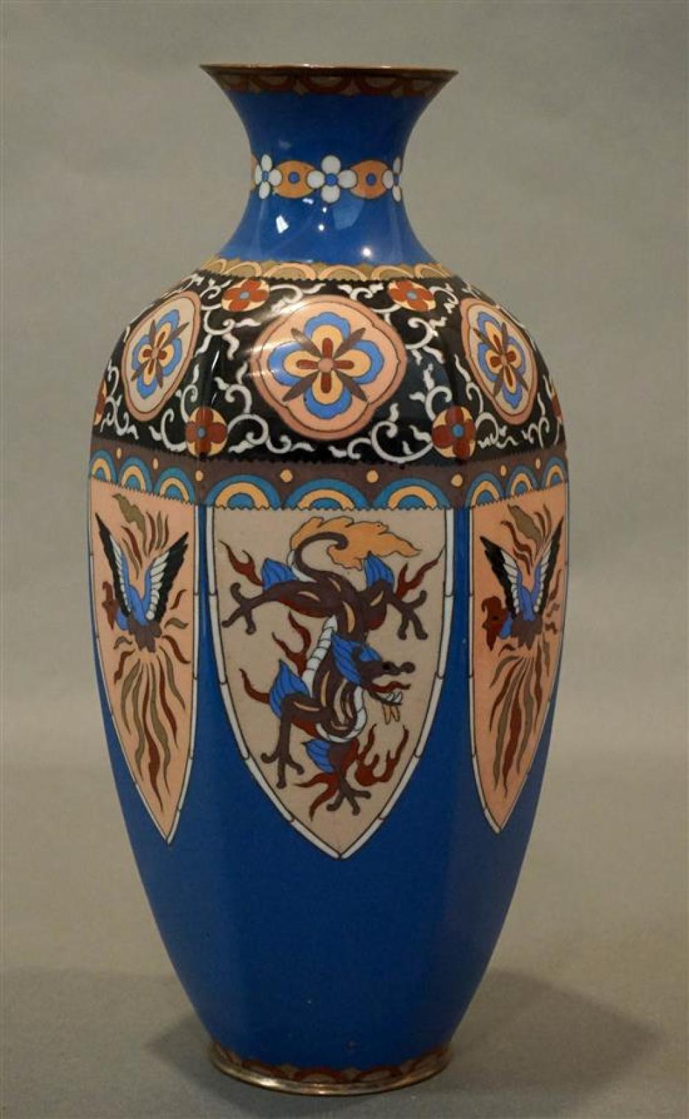 Japanese Cloisonné Enamel Hexagonal Vase (9)
