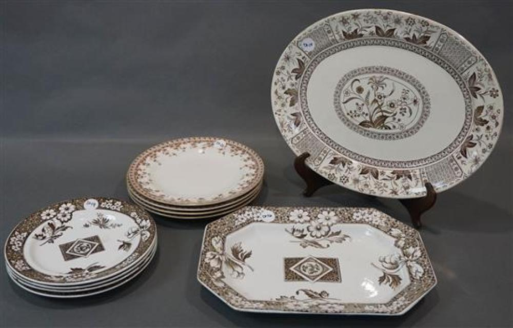 Two Transfer Decorated Ironstone Platters and Eight Plates (15 thru 24)