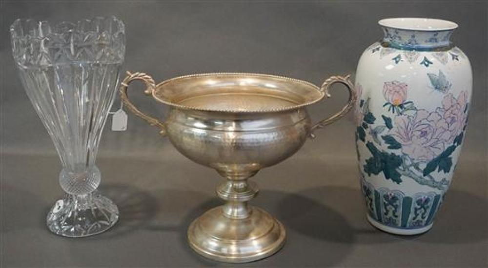 Chinese Porcelain Vase, a Hammered Metal Urn and a Crystal Vase (29,33,36)