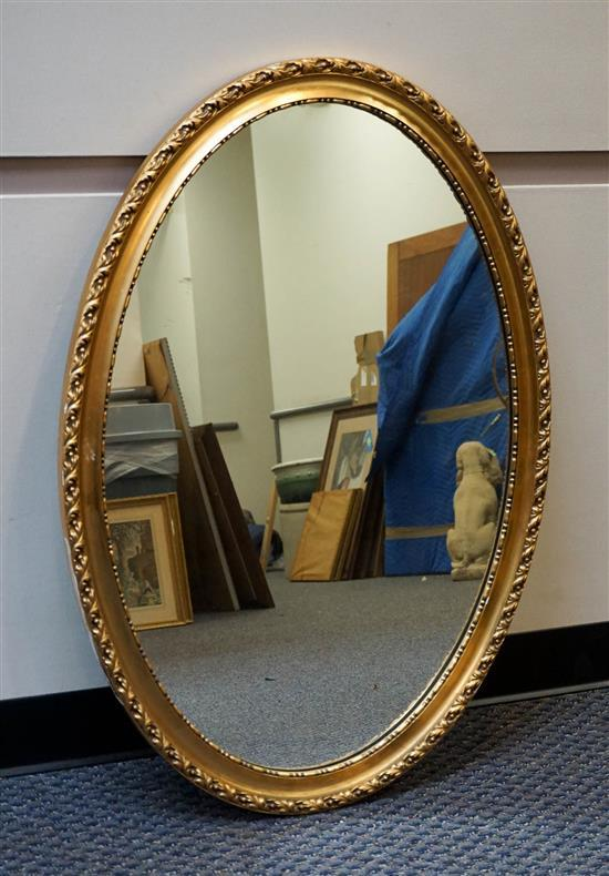 Gilt Oval Frame Mirror, 40 x 28 in