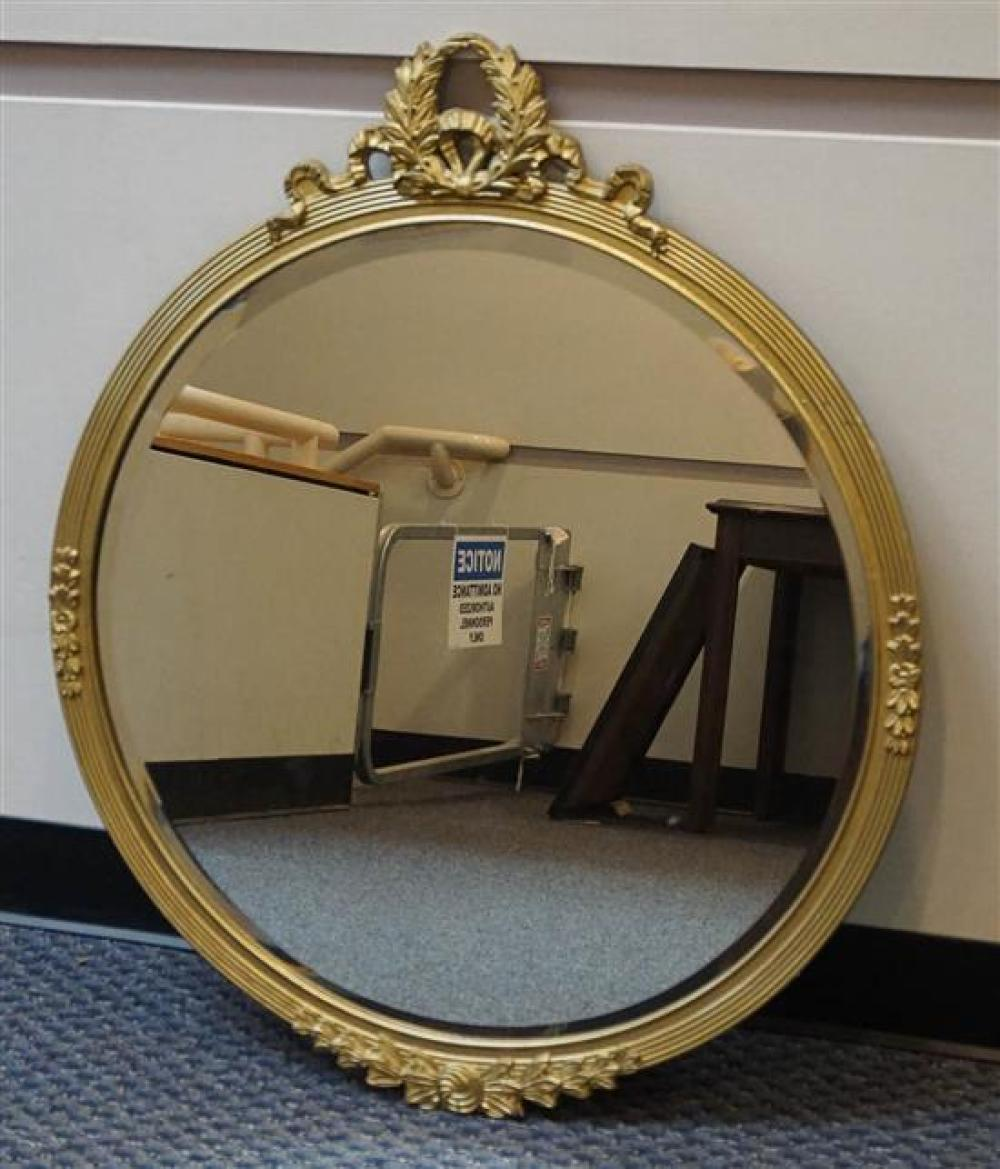Empire Style Gilt Frame Round Mirror, Diameter: 27 in