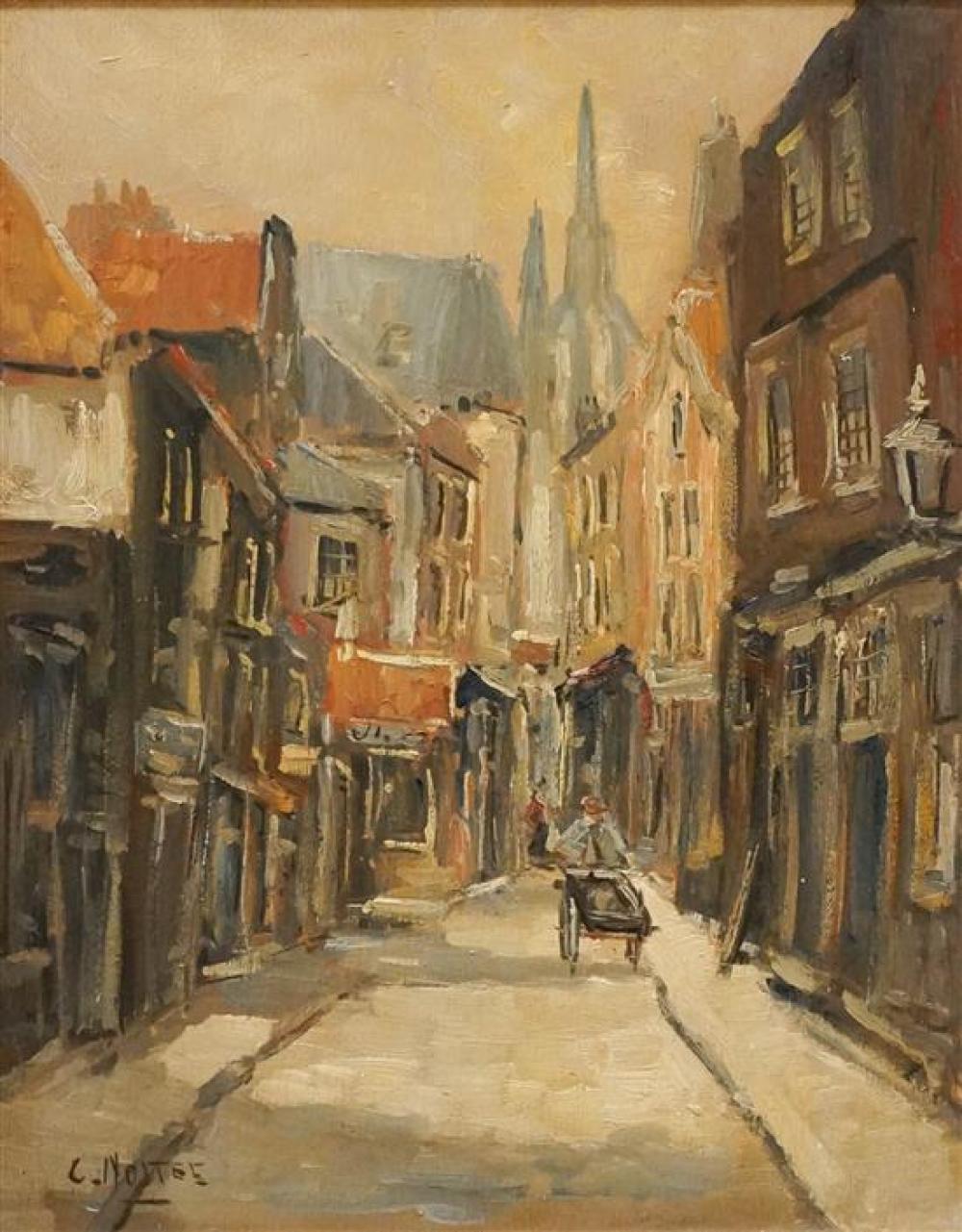 Bernardus Cornelis Noltee (Dutch 1903-1967), Flemish Street Scene, Oil on Panel, 20 x 16 in