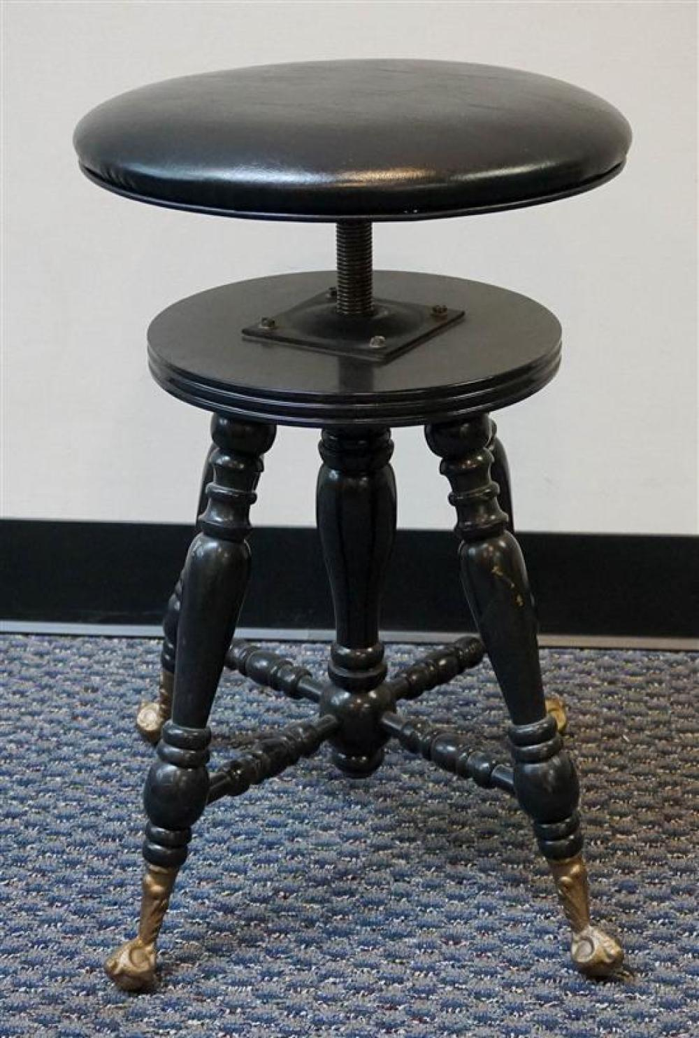 Set of Five Black Painted Swivel Seat Piano Stools