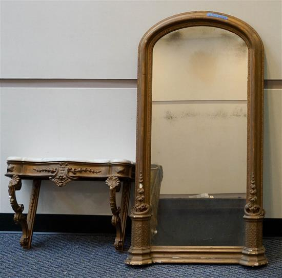 Victorian Gilt Decorated Marble Top Pier Table with Mirror, Mirror: 51 x 26 in