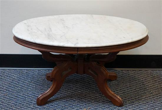 Victorian Rococo Style Walnut Marble Top Side Table