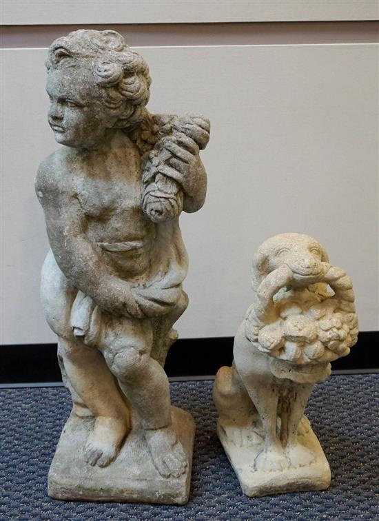 Cast Cement Figure of a Young Boy and a Figure of a Dog