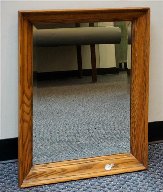 Oak Frame Bevel Edge Mirror, 29 x 23 in