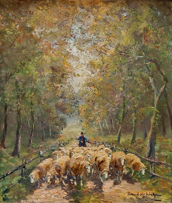 Randolf Wehn (German 1911-1987), Herding Sheep, Acrylic on Canvas, 28 x 24 in