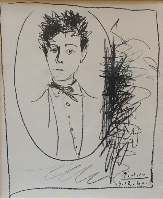 After Pablo Picasso, Portrait of a Man, Lithograph, Sight size: 11 x 9-1/2 in