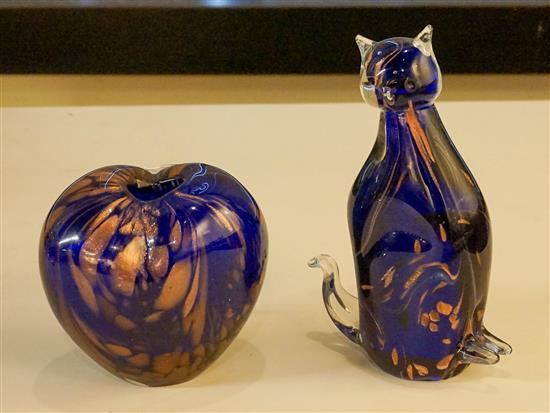 Contemporary Gold Decorated Cobalt Glass Cat Figurine and a Vase