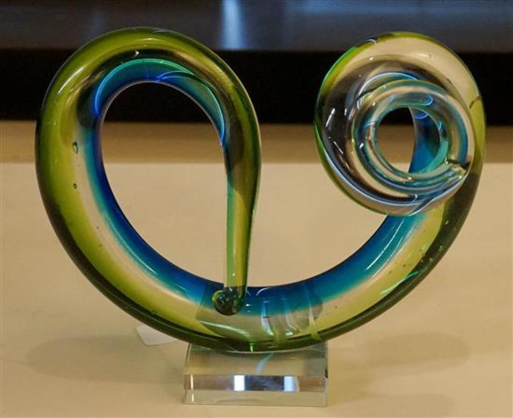 Contemporary Blue-Green Glass Sculpture
