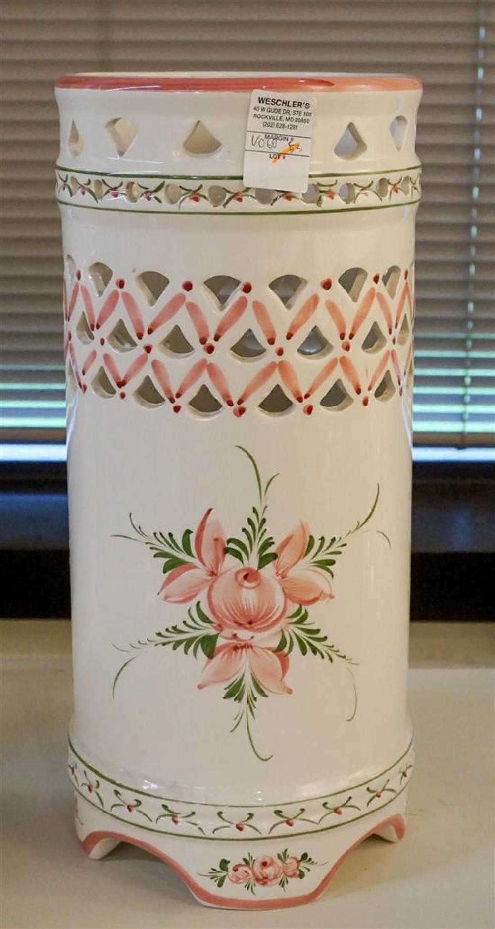 Italian Ceramic Cylindrical Umbrella Jar