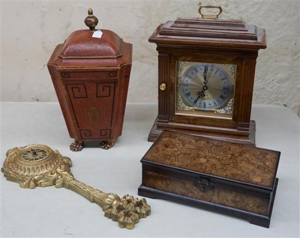 Regency Style Decorated Wood Covered Box, Stationery Box, a Quartz Mantel Clock and a Fiberglass Clock