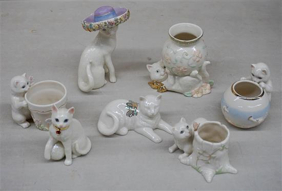 Seven Lenox Porcelain Cat Figurines