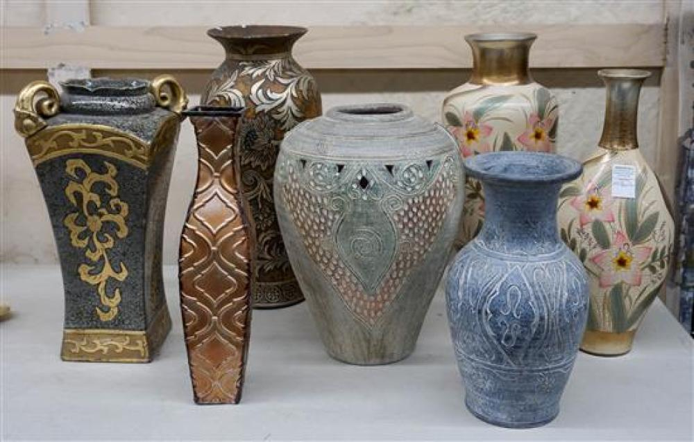 Seven Contemporary Ceramic Decorated Vases (one chipped)