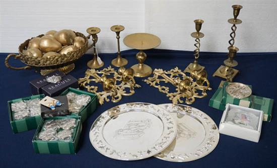 Group of Brass, Pewter and Chrome Plated Table Articles