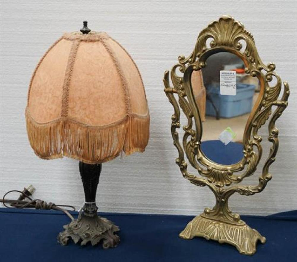 Rococo Style Brass Dressing Mirror and a Patinated Metal Lamp
