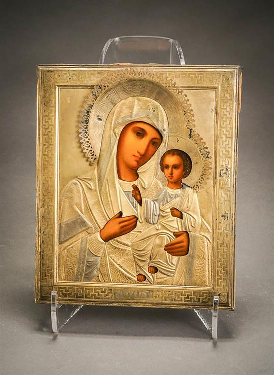 Russian Gilt Silver Mounted Icon of the Mother of God, Zakharov Brothers, Probably Moscow, 1896-1908