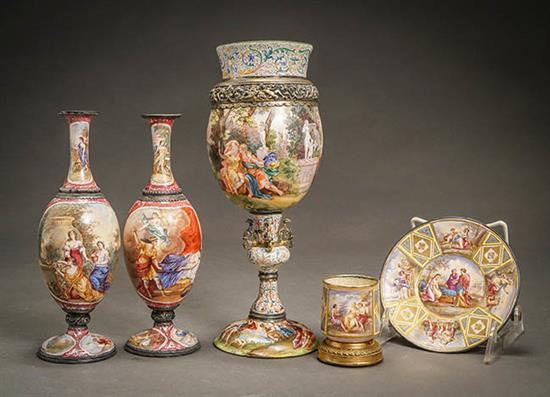 Group of Five Viennese Enameled Silver Cabinet Articles 19th Century