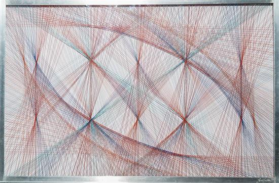 Sue Fuller (American 1914-2006), Untitled, String and Lucite within Plexiglass Frame, 24 x 36 inches