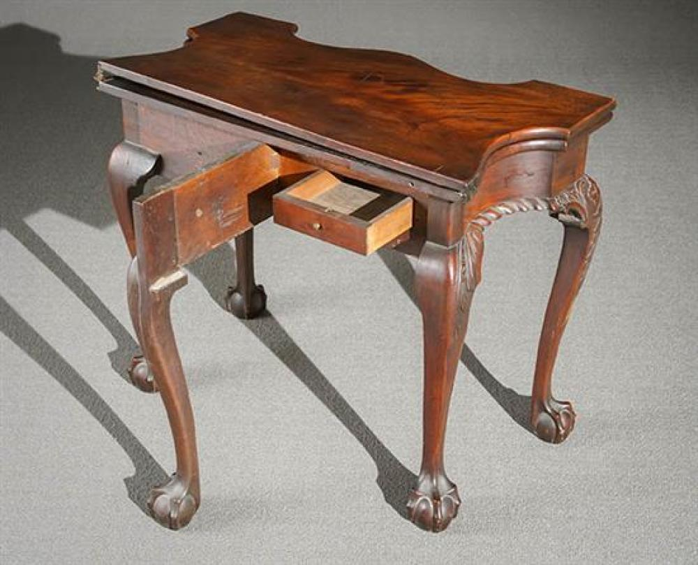 Chippendale Carved and Figured Mahogany Serpentine Fold Top Five-Legged Card Table