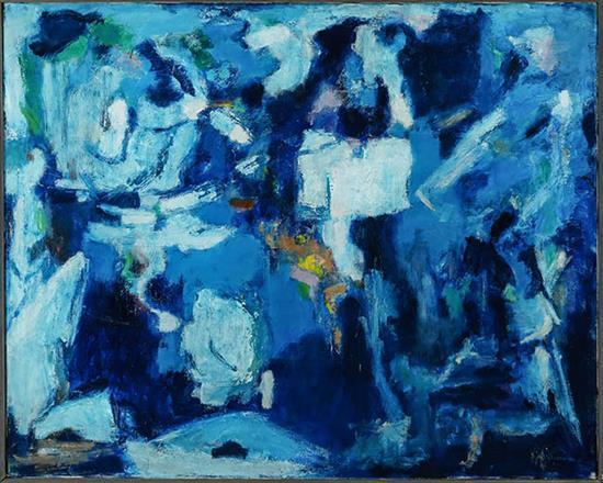 Alma Woodsey Thomas (American 1891-1978), Blue Opus II, Acrylic on Canvas, 32 x 40 inches