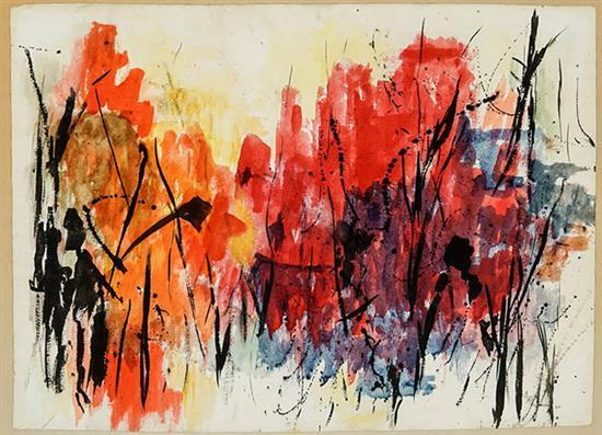 Alma Woodsey Thomas (American 1891-1978), Untitled, Signed Watercolor and Ink on Paper